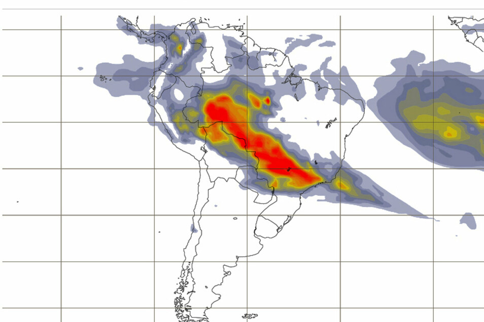 Die Karte des Atmosphere Monitoring Service zeigt die Konzentration von Aerosolen in der Atmosphäre über dem von Waldbränden betroffenen Gebiet.