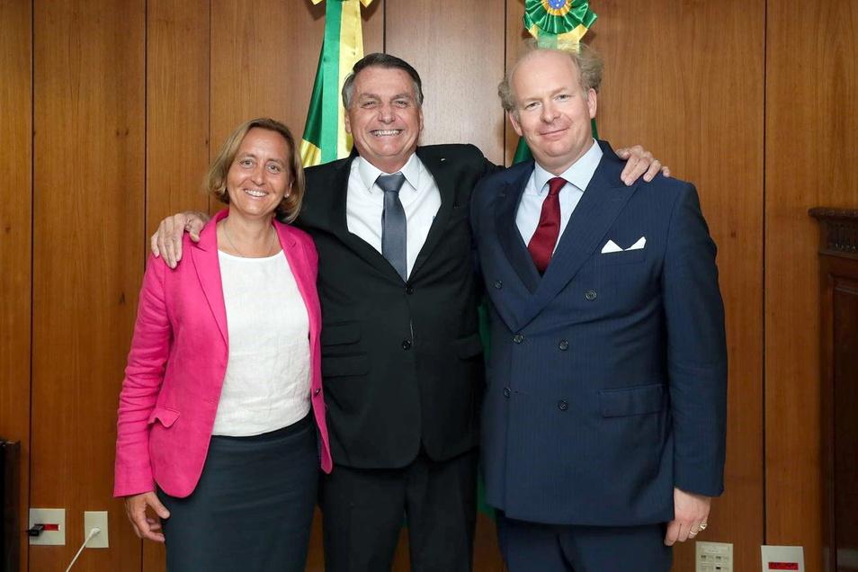 Beatrix von Storch, Jair Bolsonaro, und Sven von Storch im Präsidentenpalast