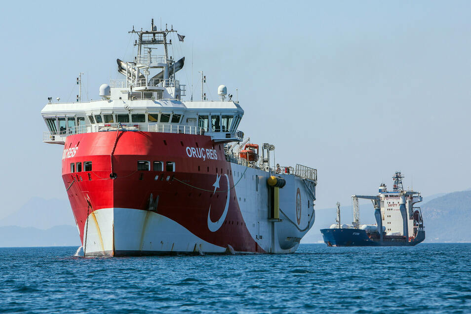 """Im Erdgasstreit mit Griechenland entsendet die Türkei ihr Forschungsschiff """"Oruc Reis"""" erneut ins östliche Mittelmeer."""