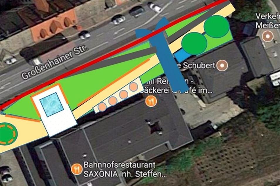 Von oben sind die Wasserfläche und die Fußwege vor dem Bahnhofseingang gut zu erkennen. Gleiches gilt für die Taxibucht an der Großenhainer Straße.