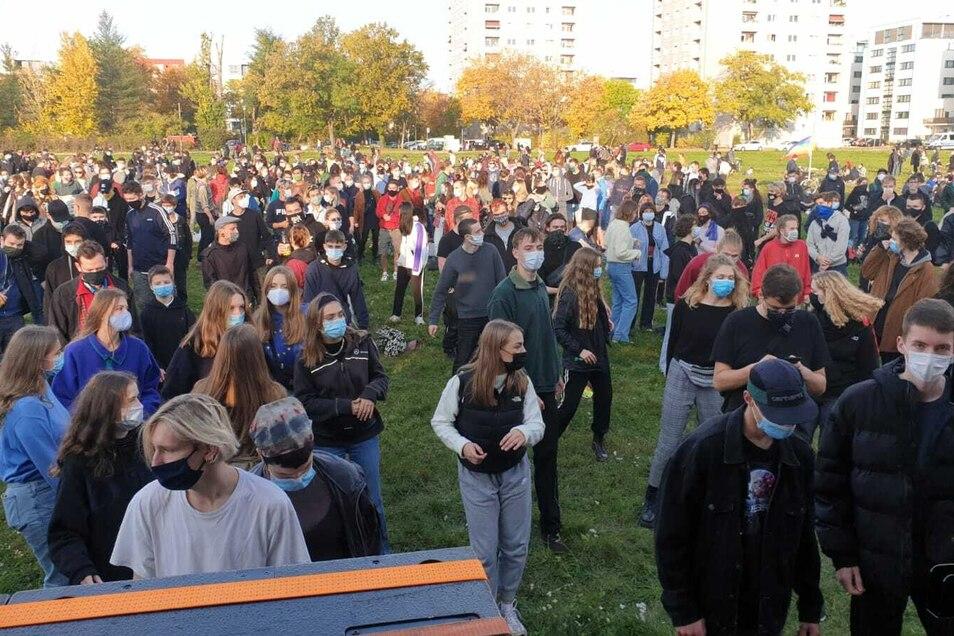 Auf der Cockerwiese treten rund 1.000 Menschen für Toleranz ein, vor allem jüngere sind am Sonntag gekommen.