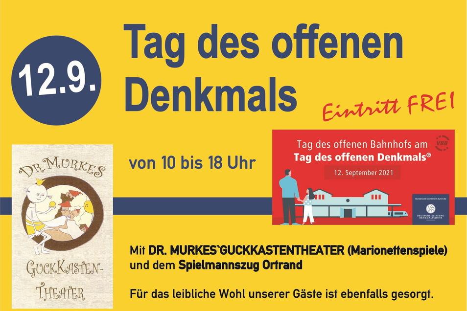 Dr. Murkes Guckkasten-Theater und der Spielmannszug Ortrand erfreuen die Gäste des Denkmaltages.