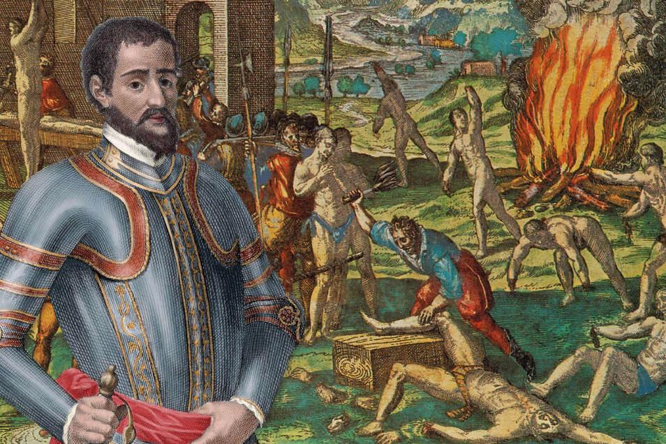 Diese Darstellung aus dem 16. Jahrhundert zeigt, wie spanische Eroberer in Amerika Ureinwohner quälten.