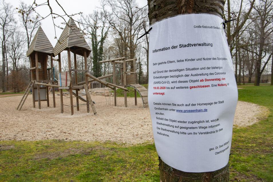 Großenhains Spielplätze bleiben geschlossen: So auch der Spielplatz am Stadtpark.