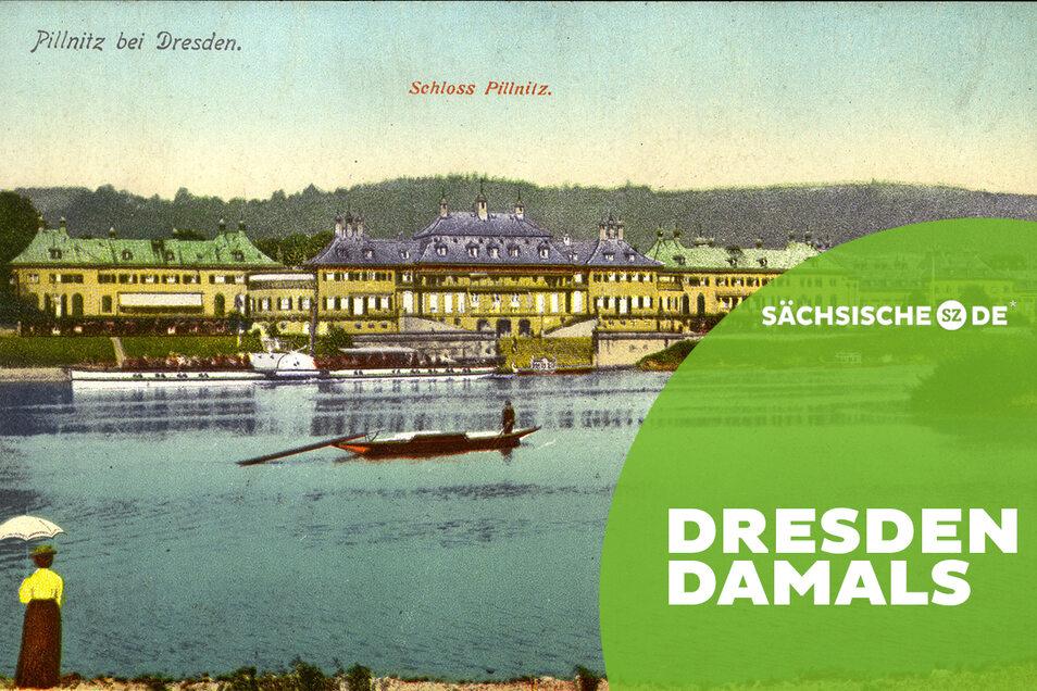 """""""Schloss der Mätressen"""": Schloss Pillnitz auf einer Postkarte um 1910."""