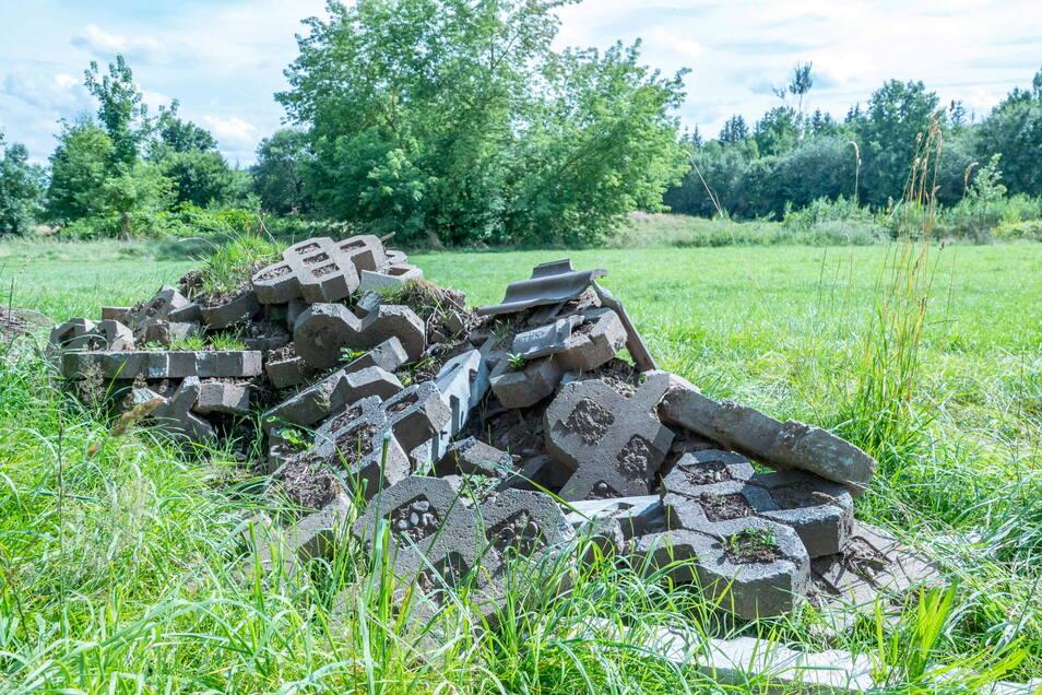 Rasengittersteine sind auf einer Wiese bei Roßwein aufgetürmt worden.