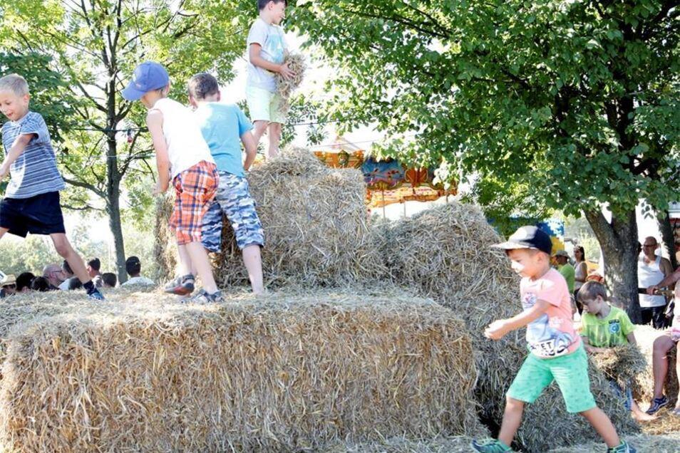 Ein Berg Stroh bereitete machte den Kindern Spaß, während die Eltern sich Technik und Wettkampf ansahen.