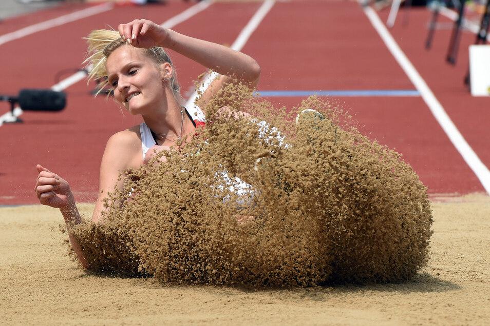 Jenny Elbe bei den Deutsche Leichtathletik-Meisterschaften 2014 in Ulm.
