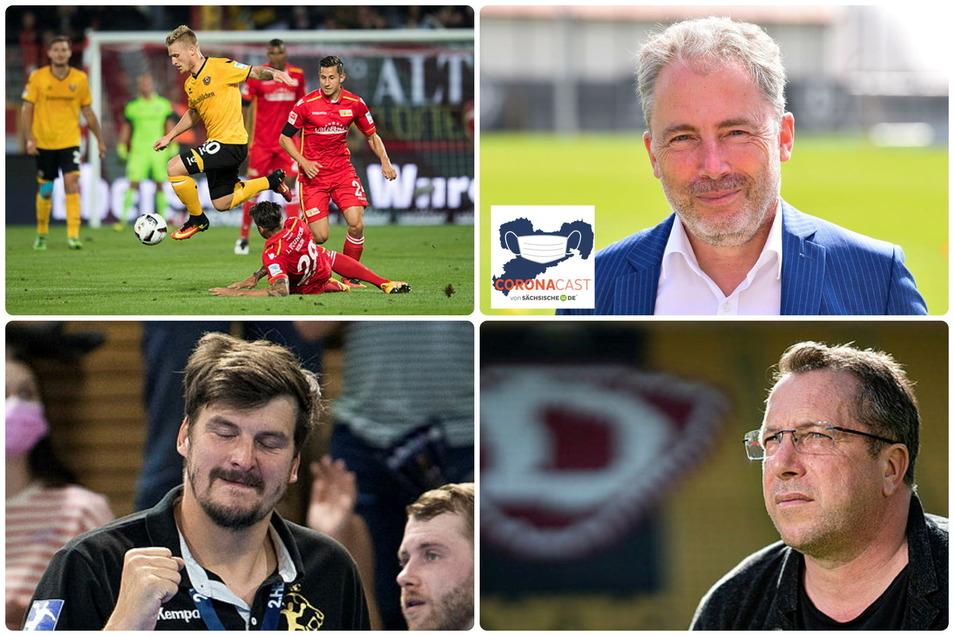 Die Protagonisten des Sportmontags aus sächsischer Sicht: Dynamo und Geschäftsführer Jürgen Wehlend sowie Ex-Coach Markus Kauczinski. Dazu ein euphorisierter HC-Elbflorenz-Trainer Rico Göde.
