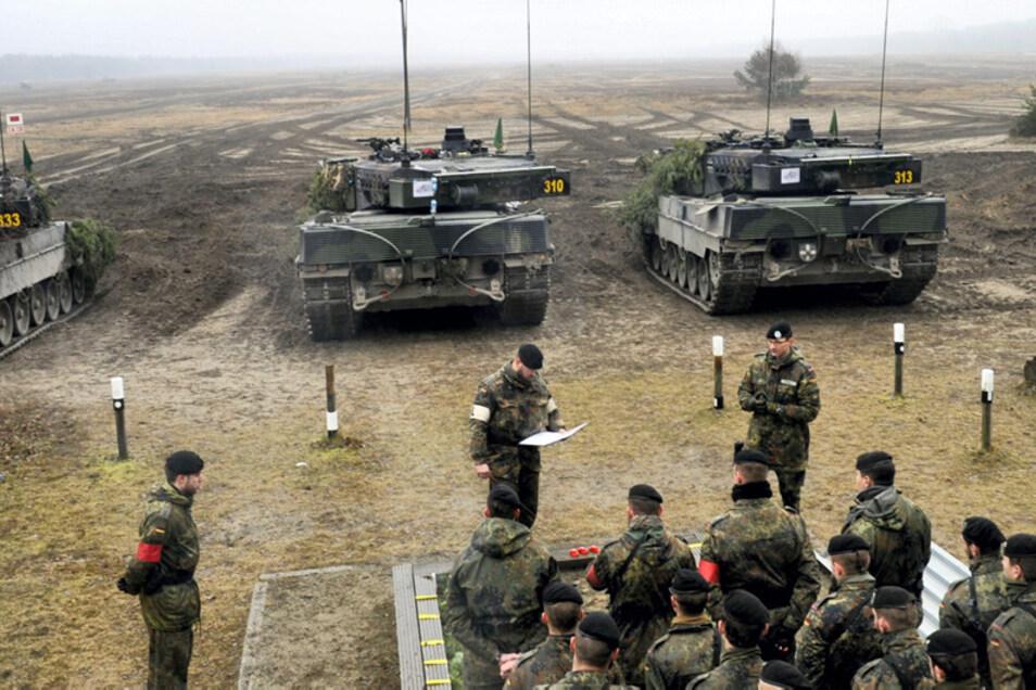Das Panzerbataillon 414 der Bundeswehr übte auf dem Truppenübungsplatz Oberlausitz im Januar 2020.