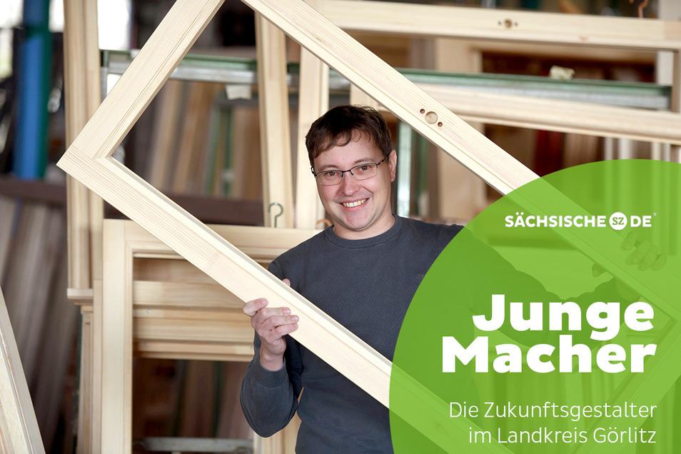 Thomas Pötschke verarbeitet im Löbauer Familienunternehmen jährlich etliche Tonnen von vornehmlich heimischen Holz zu Fensterrahmen.
