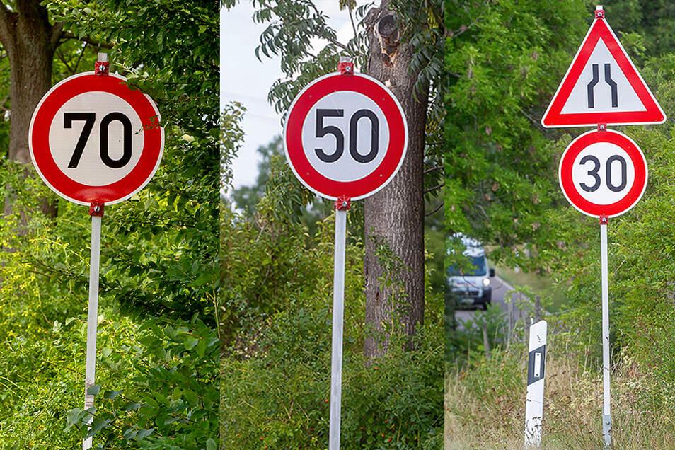Wer bietet mehr Schilder auf rund hundert Metern? In Gamig nahe Dresden heißt es schnell bremsen.