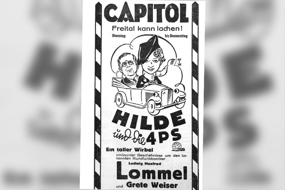 Hilde und die 4 PS entstand 1936 in Nazi-Deutschland. Aufgeführt wurde der Film auch im zehn Jahre zuvor eröffneten Capitol.
