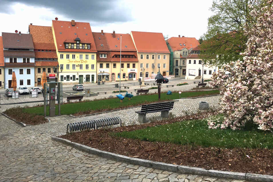 Der Marktplatz in Stolpen ist ein Kulturdenkmal.