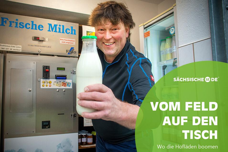Landwirtschaftsbetrieb Alexander Zschaage in Nauhain: Er stellt frische Milch im Automaten zur Verfügung.