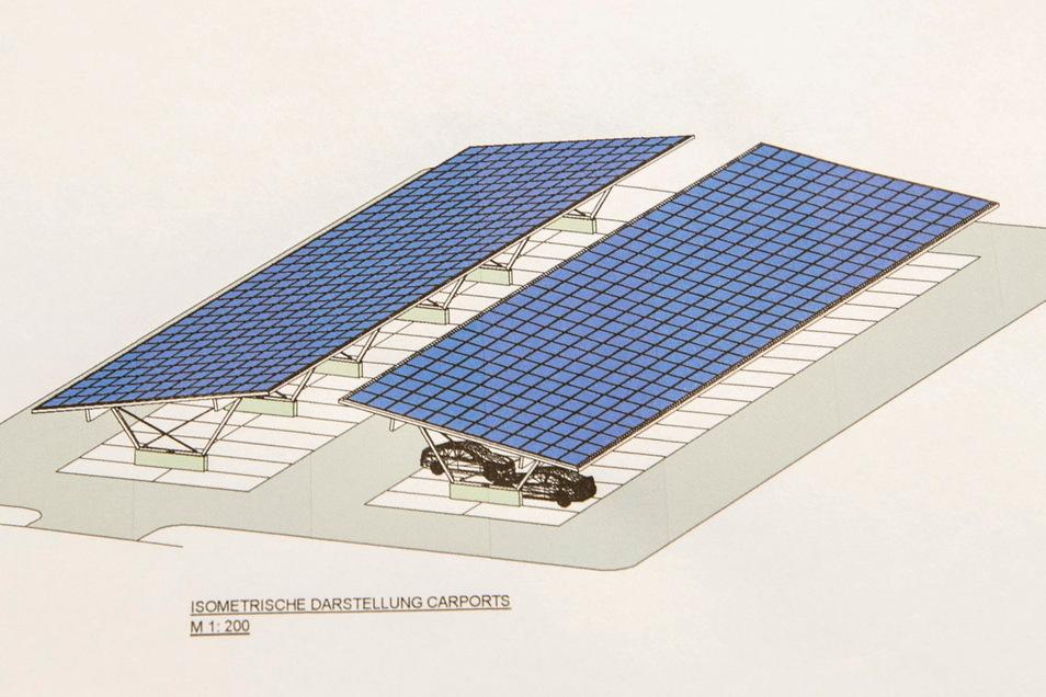 So sieht das Carport mit den Solarzellen aus. Ab Ende Mai 2021 soll sie Anlage Strom liefern. Darunter soll künftig die E-Fahrzeugflotte stehen.