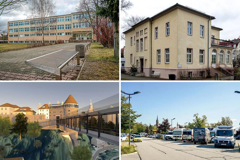 Allende-Oberschule (o.l.), Schiller-Kita (o.r.), Spreebrücke (u.l.), Schliebenparkplatz: All diese Projekte tauchen im Bautzener Haushaltsplan auf. Doch gebaut wird hier in diesem Jahr noch nicht.