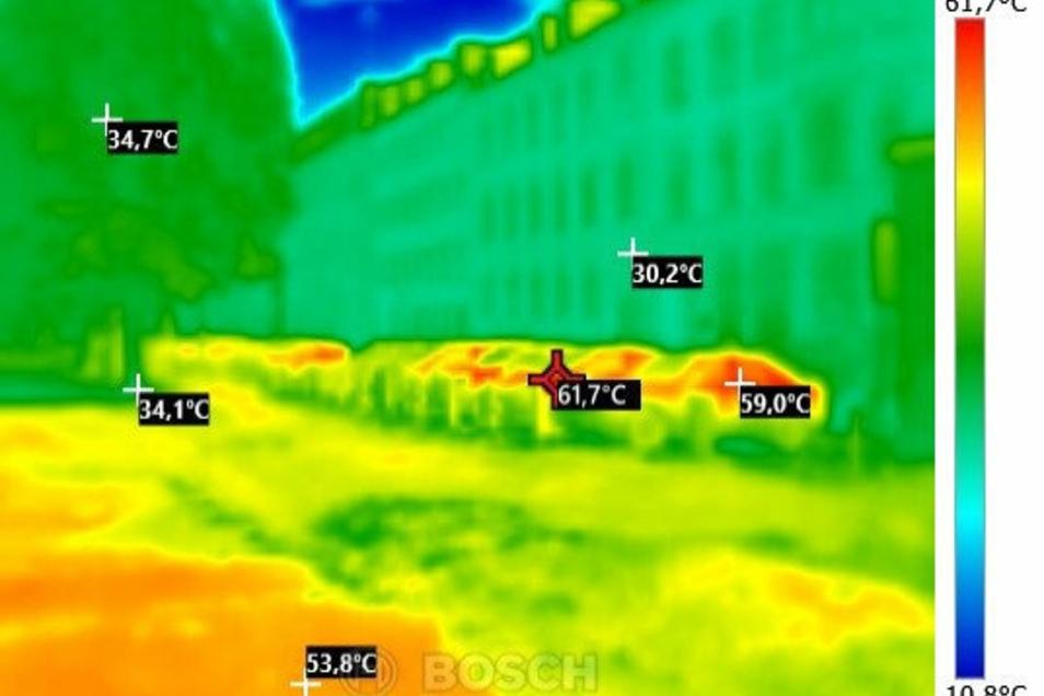 """Beispiel Elisabethstraße: Die Autos sind um die 60 Grad heiß, im Schatten der Bäume herrschen """"nur"""" 34 Grad."""