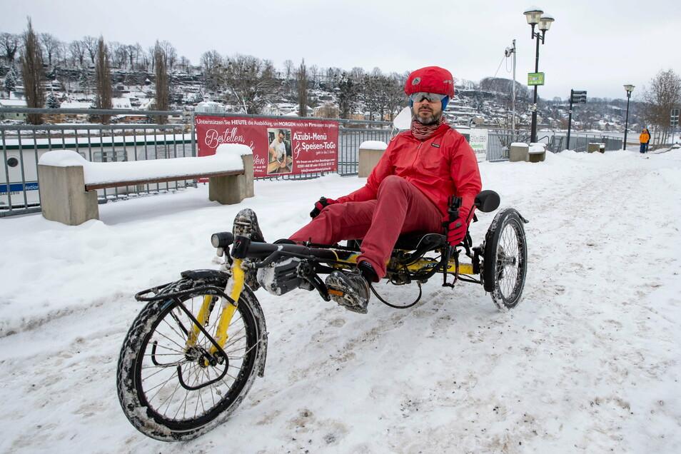 Steffen Hoffmann aus Pirna ist Radfahrer aus Leidenschaft. Auch bei Schnee und Eis!