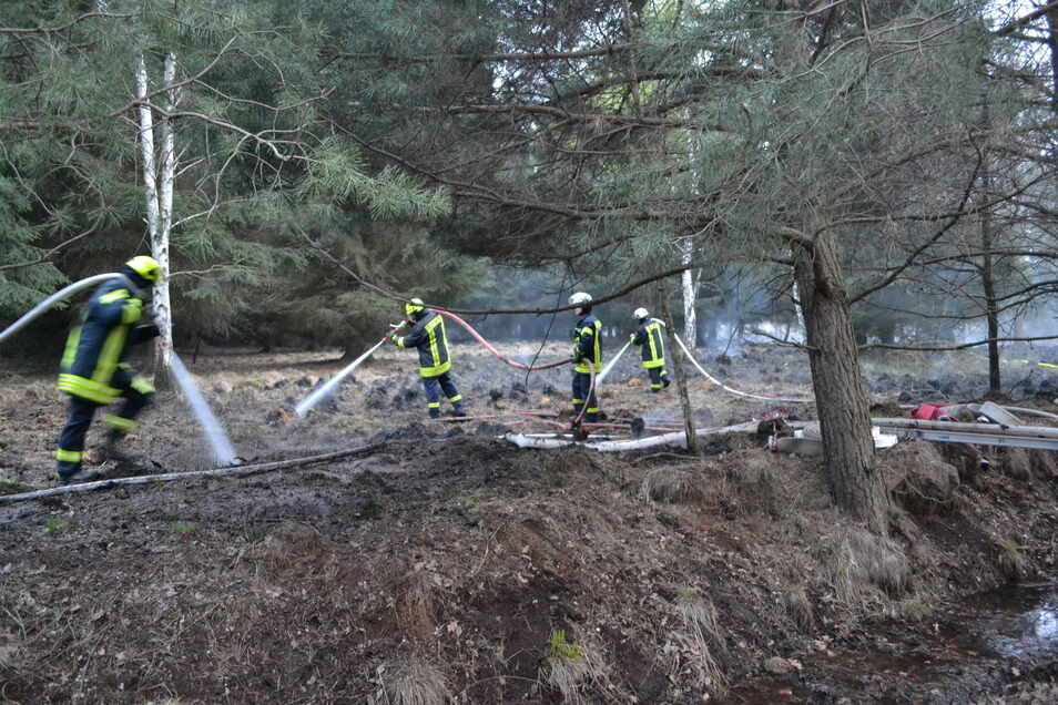 Die Löscharbeiten gestalteten sich schwierig, denn Moorbrände können tief in den Boden eindringen.
