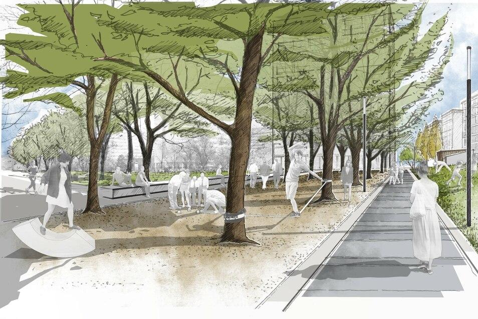 Könnte das Gebiet zwischen Reitbahnstraße und St. Petersburger Straße bald so aussehen?
