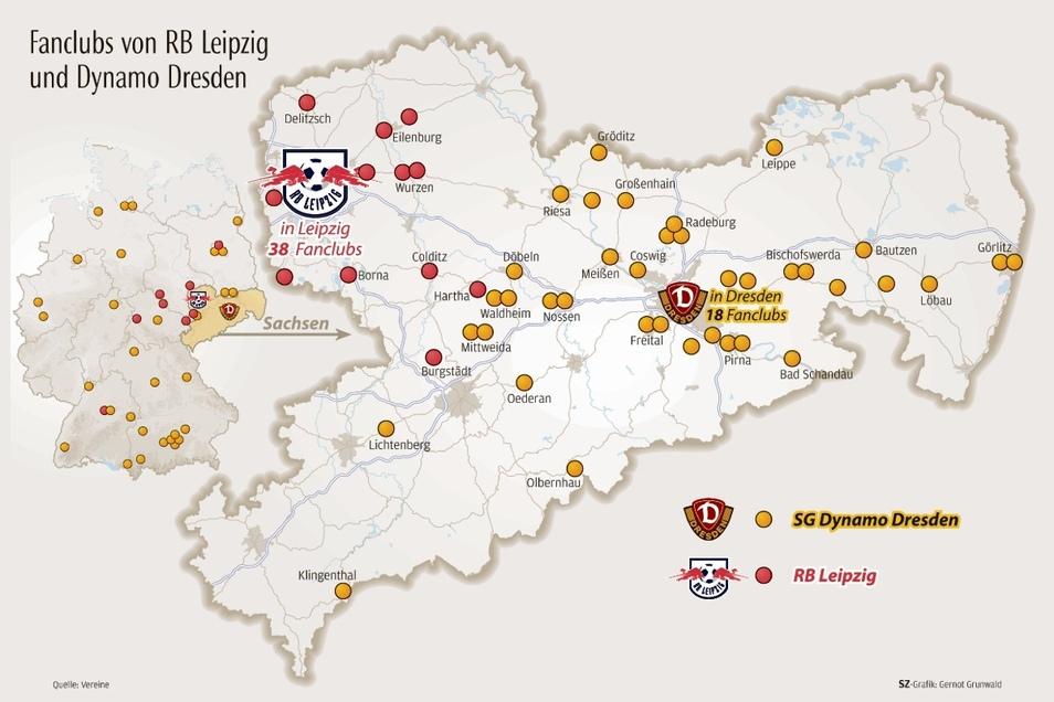 Bei RB Leipzig sind nur die 59 offiziellen Fanclubs verzeichnet. Dieser Titel wird unter bestimmten Voraussetzungen vergeben. Bei Dynamo gibt es keine solche Unterscheidung, allerdings kann der Verein einige der 150 Fanclubs geografisch nicht einordnen. S