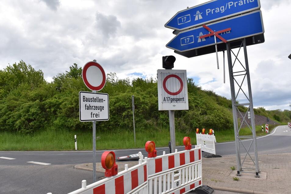 Die Auffahrt zur A 17 in Richtung Pirna/Prag ist von der B 173 derzeit nicht möglich. Grund sind Arbeiten auf der A 17.