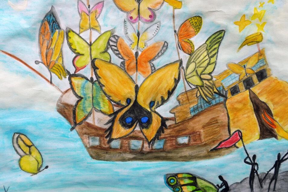"""Lena Kolander zieht es nach """"Nimmerland"""". """"Ich wusste, dass ich etwas im Stil des Surrealismus malen wollte. Deswegen habe ich mich von einem Bild Salvador Dalis inspirieren lassen. Ich fand die Idee sehr schön, dass die Segel des Schiffes aus Schmetterli"""