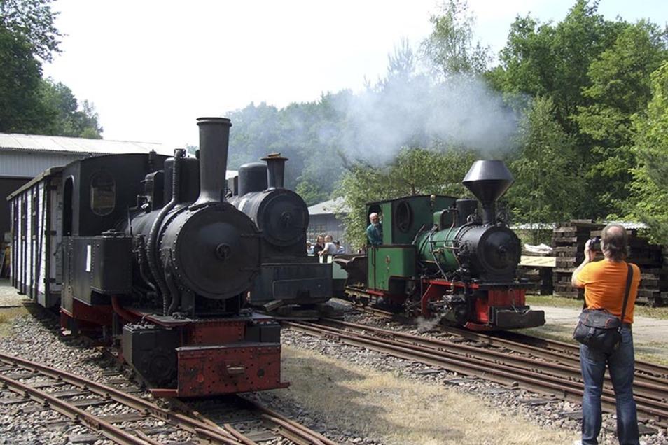 Bei den Sommerfahrtagen im Feldbahnmuseum Herrenleite steht eine Lok unter Dampf.