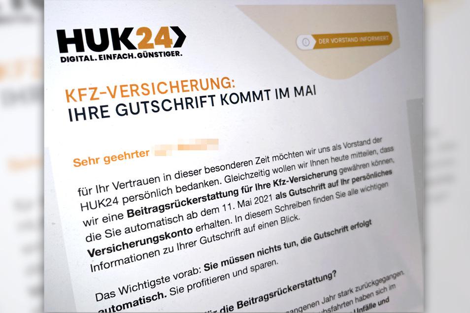 """""""Ihre Gutschrift kommt im Mai"""": Die Huk24 verrät zwar, ab wann es den Bonus geben soll, nicht aber dessen Höhe."""
