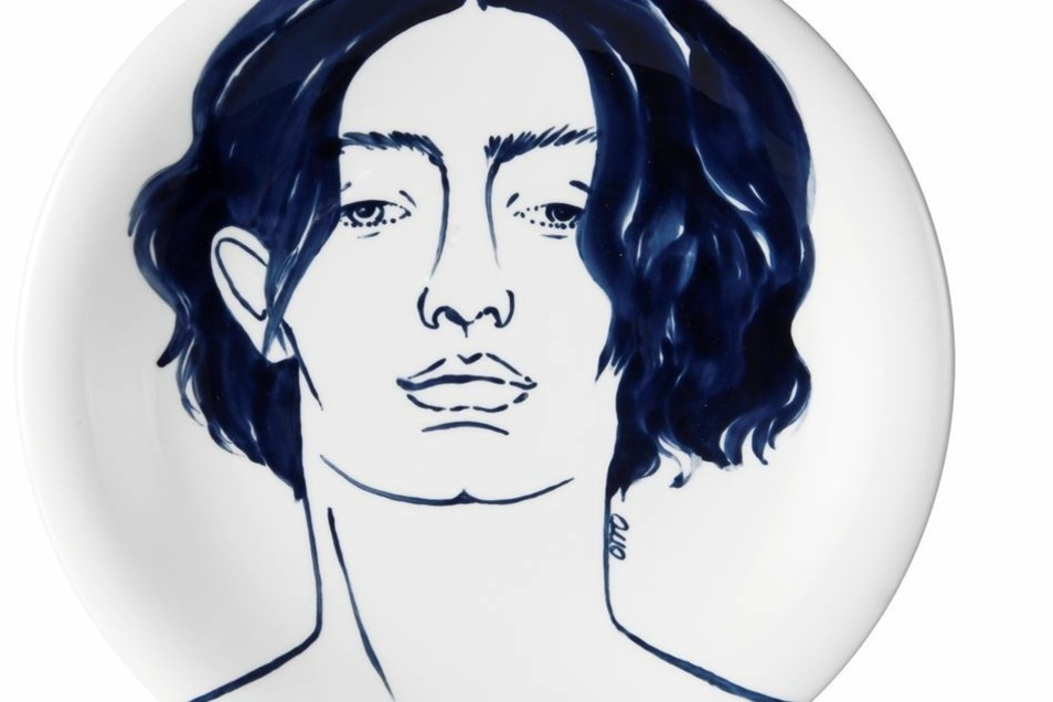 Ein Teller der 30 Motive umfassenden Meissener Faces-Serie.
