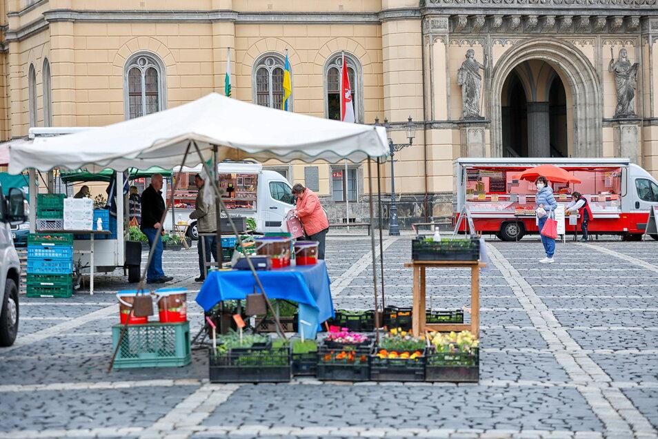 Blick auf den Zittauer Wochenmarkt. Hier steht auch der Fisch-Anbieter aus Neugersdorf.