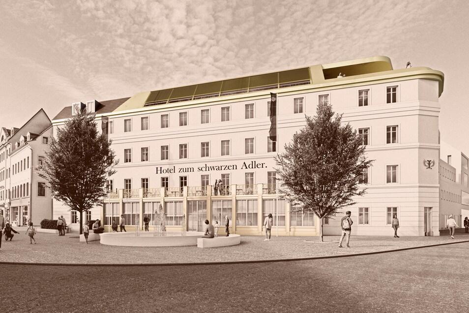 Entwurf des neuen Hotels mir denkmalgeschützter Fassade: Der Brunnen soll wieder direkt vor das Haus verlegt werden - wo er früher schon einmal stand.