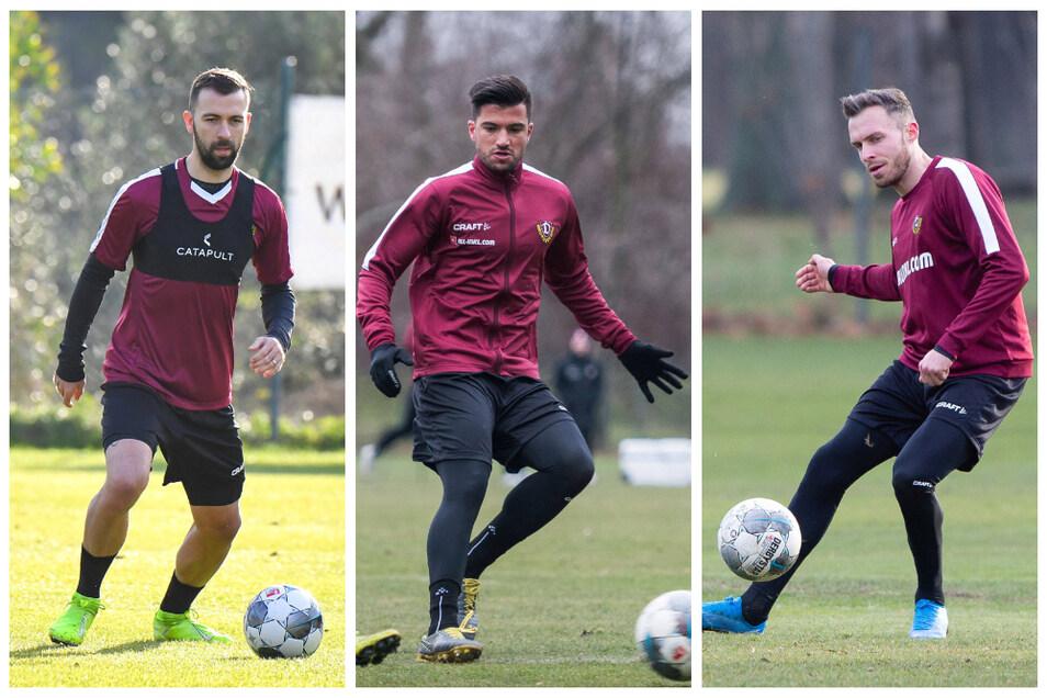 Das sind Dynamos bisherige Neuzugänge: Josef Husbauer (l.) kam vom Prager Champions-League-Teilnehmer Slavia, Marco Terrazzino (M.) vom Bundesligisten SC Freiburg und Patrick Schmidt vom Dresdner Ligakonkurrenten Heidenheim.