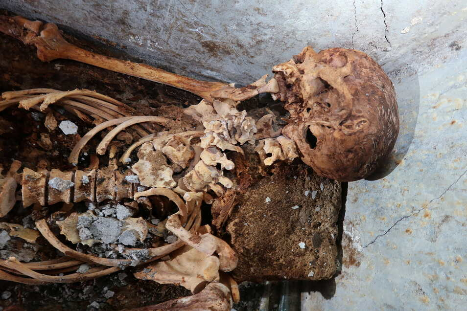 Die mumifizierten Überreste von Marcus Venerius Secundio, einem früheren Sklaven, der nach seiner Freilassung zu Reichtum und damit zu gesellschaftlichem Rang gelangt war.