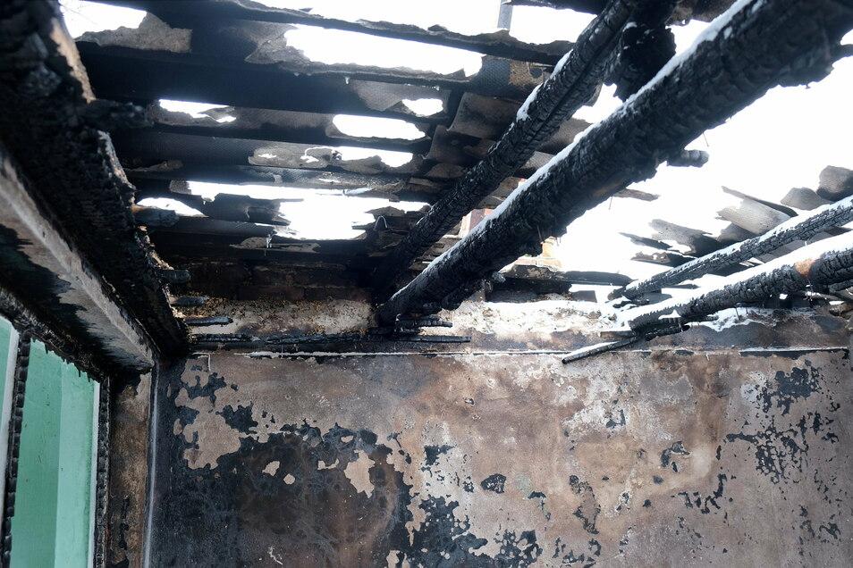 Das Dach der Laube wurde von dem Brand völlig zerstört. Die Ursache ist noch unklar.