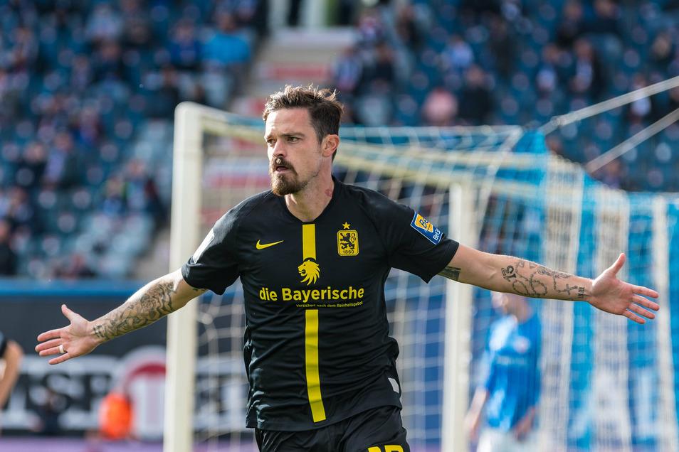 Mitte Oktober erzielte Dennis Erdmann für die Münchner Löwen das 1:0 gegen seinen Ex-Verein Hansa Rostock. Am Ende stand es 1:1.