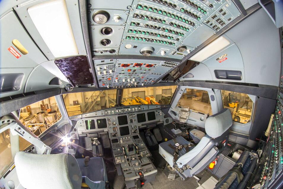Das Cockpit des recycelten Airbus A 320 wird inzwischen als Flugsimulator genutzt.