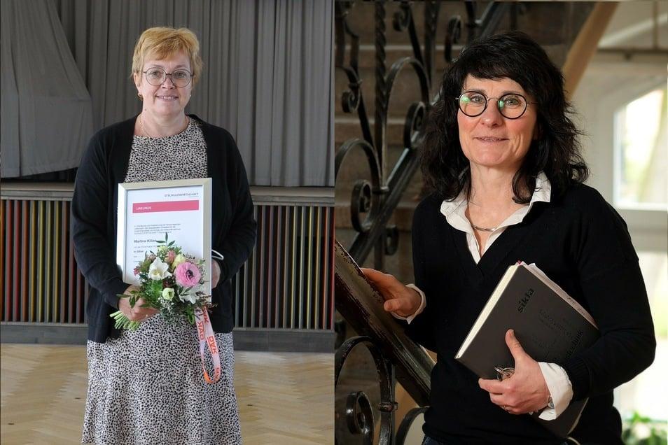 """Kerstin Wilde, Leiterin der Oberschule Lichtenau (rechts) und Martina Kilian, Leiterin der Oberschule Brand-Erbisdorf, sind mit der """"Silbernen Ehrennadel Schulwirtschaft"""" ausgezeichnet worden."""