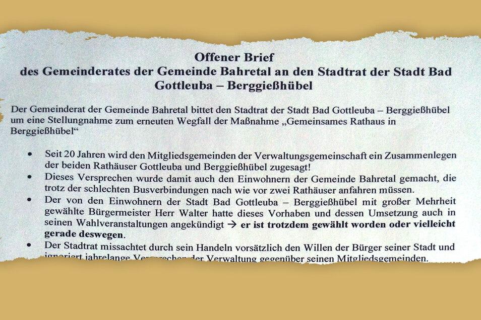 Der offene Brief des Gemeinderats Bahretal an den Stadtrat Bad Gottleuba-Berggießhübel.