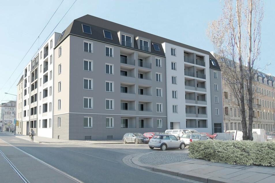 Auf dem bisher ungenutzten Grundstück an der Schäferstraße entsteht bis 2022 ein U-förmiger Neubau mit Sozialwohnungen.
