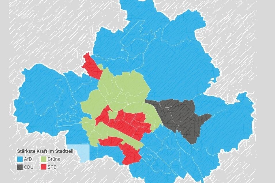 Blaue Ränder, grün-rotes Zentrum: So haben die Dresdner in den einzelnen Stadtteilen gewählt.