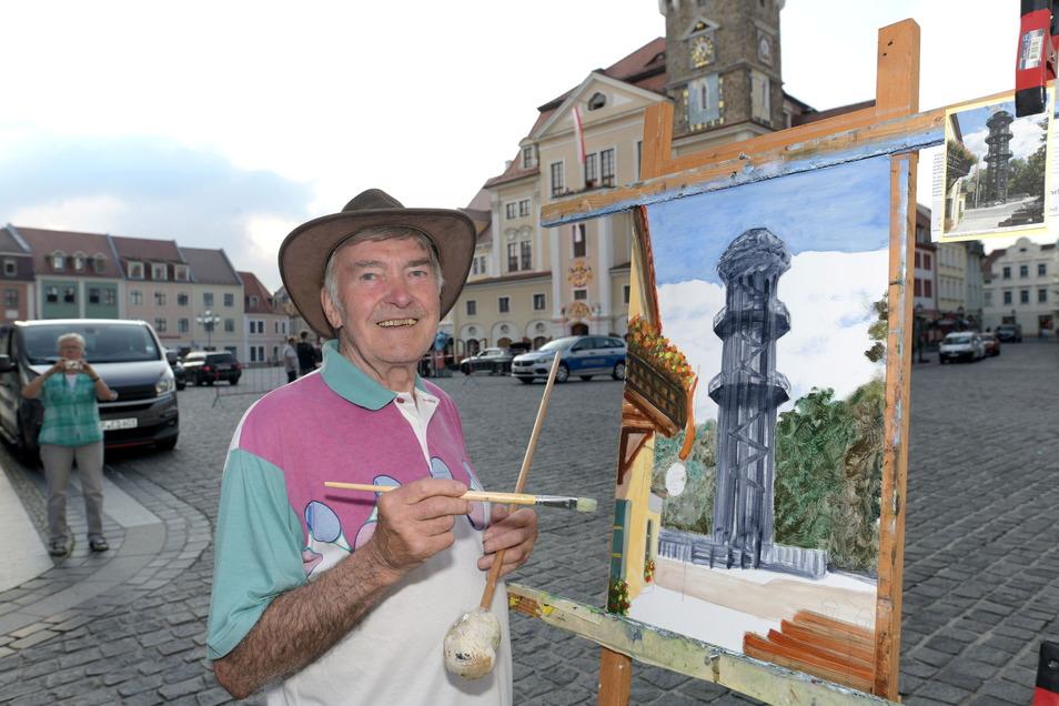 Der Maler Klaus Güttler hatte auf der Straße seine Staffelei aufgebaut und ließ sich über die Schulter schauen.
