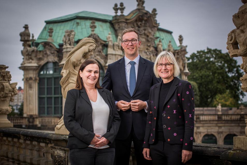Der neue Vorstand des Dresdner Tourismusverbandes: Anne Schwarz, Sebastian Klink und Katrin Richter (v.l.).