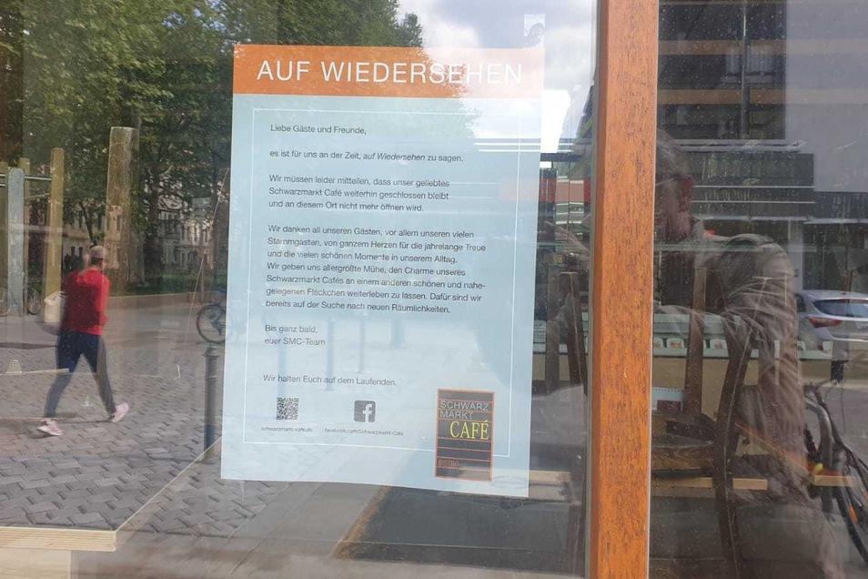 Das Schwarzmarktcafé wird nicht mehr auf der Hauptstraße öffnen, verkündet dieser Zettel an der Scheibe.