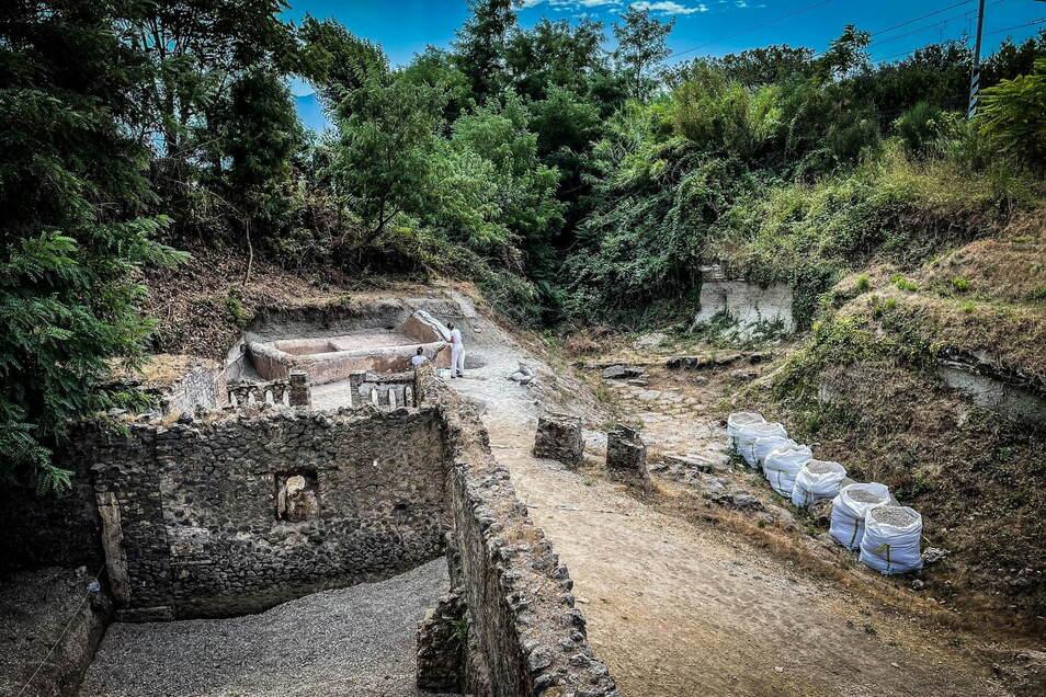 Die Grabanlage in der versunkenen Stadt Pompeji, in der die mumifizierten Überreste von Marcus Venerius Secundio gefunden wurden.