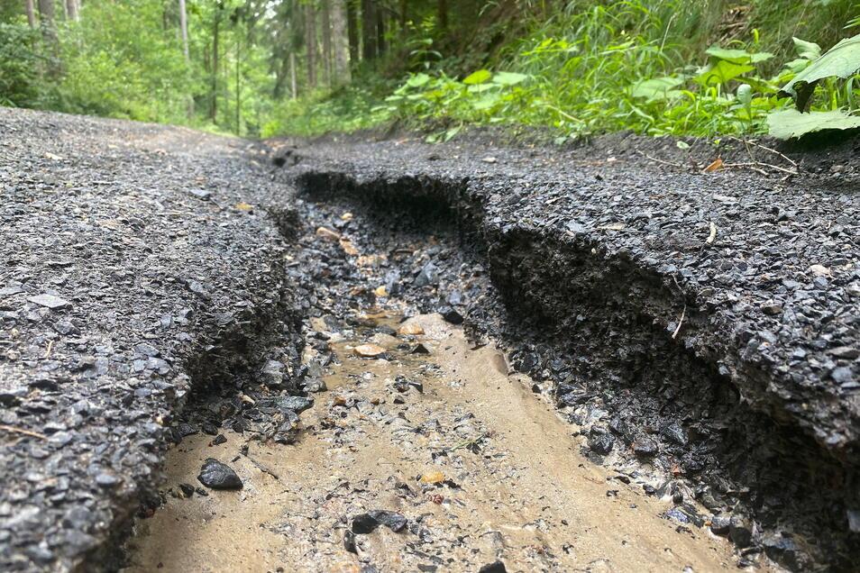 Nach den starken Regenfällen am 17. und 18. Juli ist auch der Wasserleitungsweg unweit von Hartau an manchen Stellen stark ausgespült, weil es am Wegrand keine Wassergräben mehr gibt. Die werden gerade neu angelegt.