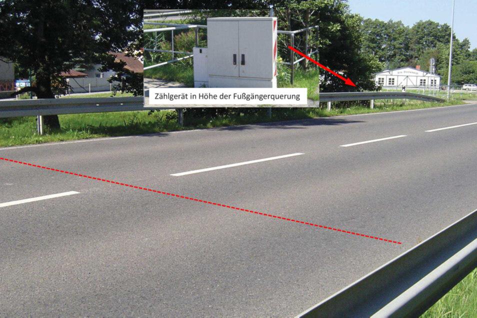 Zählungsmessstelle Wittichenau an der S 95 Richtung Oßling vor der Alten Bootswerft. Roter Strich: Verlegungsort der Induktionsschleifen unter dem Straßenbelag.