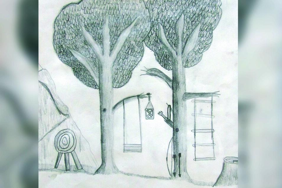 """""""Jungenparadies"""" stammt von Hennes Hessel, der die Klasse 4a besucht. Zu dieser Bleistiftzeichnung sagt Hennes: """"Ich habe die verschiedenen gelernten Sachen ausprobieren wollen und einfach drauf losgelegt. Nach den Bäumen sind dann so nach und nach die Sp"""