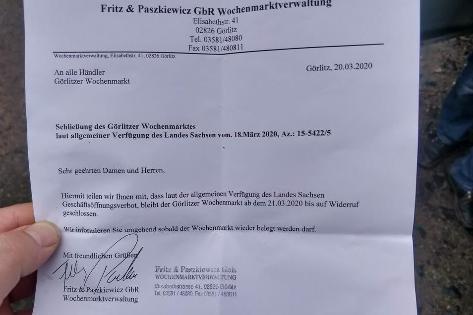 Dieser Zettel wurde allen Händlern am Freitagvormittag ausgehändigt.